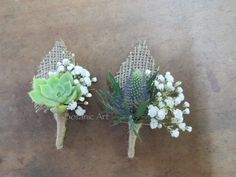 button hole, groom, groomsmen, baby's breath, burlap, twine, quirky, succulent, blue