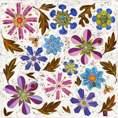 Fine art stylised contemporary giclee print of ladybirds in the jewel garden. Pink, purple and blue flowers, brown leaves and a cricket. Print from an original floral batik. Batik Prints, Art Prints, Insect Art, Sign Printing, Geometric Art, Botanical Art, American Artists, Flower Prints, Blue Flowers