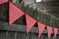Red Gingham Party Banner for Kids' Birthdays, Nursery Bunting, Farm Birthday Party -- fabric flags, baby shower, picnic, boy or girl on Etsy, $30.00