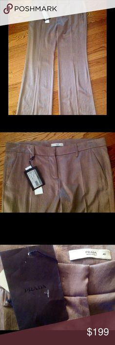 Pravda women's pants, canapa color new with tags Beautiful Prada flared pants in canapa ( as written on the tag) color, and actually looks like metallic light bronze❤️Pants are absolutely gorgeous! ❤️ Please note that pants are lower waist! ❤️ Priced to sell! ❤️ Prada Pants Straight Leg