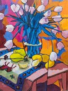 """""""Tulips with Color"""" by Angus Wilson  http://www.anguspaintings.com"""