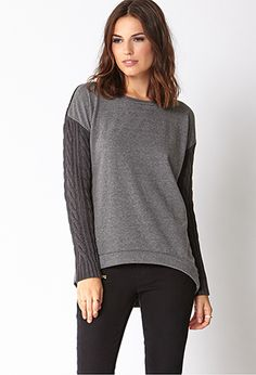Remixed Cable Knit Sweatshirt | FOREVER21 - 2000093060