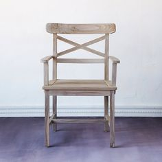 Designed and crafted exclusively for terrain, this teak armchair reflects the elegant gardens of bygone eras. Each chair arrives finished with our Ins