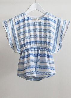 Kaftan Top - maroc stripe blue - Alpha Kids