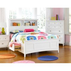 This full-size bed features storage space with beautiful nickel hardware. The panel bed is composed of hardwood with heavy duty dowel connectors for stability and safety.