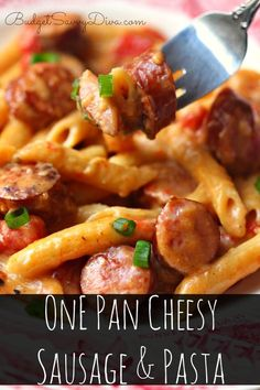 1 Tbsp olive oil 1 lb sausage ½ cup diced onion 1 Tbsp minced garlic 2 cups Chicken Broth 1 (14 oz) can diced tomatoes ½ cup milk 8 oz dry pasta ½ teaspoon salt and pepper, each 2 cup shredded Cheddar-Jack cheese ¼ tsp of Red Pepper Flakes