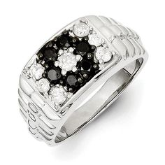 a064a0085c6a Sterling Silver Rhodium Plated Black and White Diamond Men s Ring