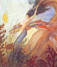 Rans Realm  Ran, a Norse Goddess, wife of Aegir, the Norse version of Posidon and Neptune. Her job was to take the souls of drowned sailors and fishermen to her underwater Valhalla.  If anyone knows the artist of this picture, please let me know.