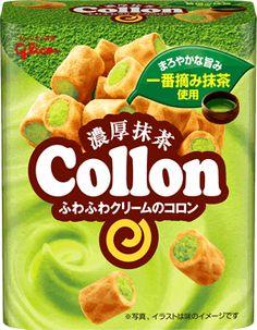 """""""Green Tea"""" flavored Cream Collon, by Ezaki Glico. Definitely one of my favorite flavors in this series!"""