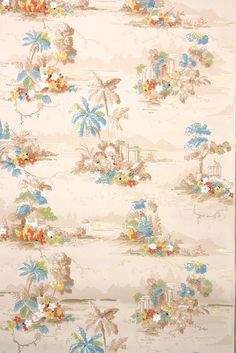 This roll of wallpaper is an authentic, old stock roll from the It is a european roll, which will cover approximately 35 sq. Antique Wallpaper, Of Wallpaper, Repeating Patterns, Textile Design, 1930s, Homes, Antiques, Painting, Vintage