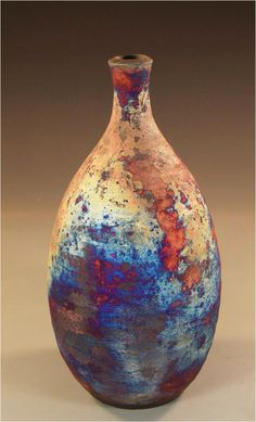 Pottery by Nita Claise Raku bottle click the image or link for more info. Ceramic Pots, Glass Ceramic, Ceramic Clay, Raku Pottery, Pottery Art, Sculptures Céramiques, Pottery Techniques, Modern Ceramics, Pottery Painting