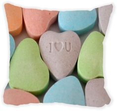 Rikki Knight® Candy Hearts I love You Microfiber Throw Décor Pillow Cushion 16' Square Double Sided Print (Insert Included)