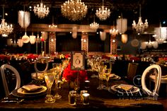 Stunning art deco reception decor.