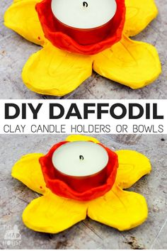 DIY Daffodil Clay Pots or Candle Holders. These DIY daffodil clay pots were are a great air drying clay craft and even better they double up as candle holders. A fantastic kid made gift. Clay Projects For Kids, Clay Crafts For Kids, Kids Clay, New Crafts, Diy For Kids, Air Dry Clay Ideas For Kids, Kid Craft Gifts, Diy Projects, Gift Crafts