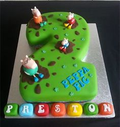 Peppa Pig Muddy Puddle Number Cake