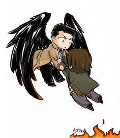 Cas saves Sammy from Hell Supernatural Drawings, Supernatural Destiel, Castiel, Sam Winchester, Geek Chic, Buffy, Superwholock, Best Shows Ever, Cartoon Drawings