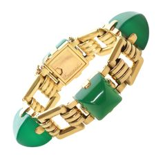 1stdibs   HERMES Green Chalcedony Yellow Gold Retro Link Bracelet