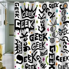 http://Amazon.com: DENY Designs Andi Bird Geek Words Shower Curtain, 69 by 72-Inch: Home & Kitchen