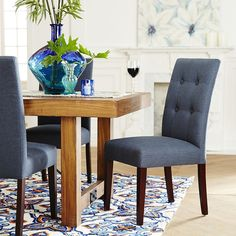 Mason Navy Dining Chair | Pier 1 Imports Navy Dining Chairs, Parsons Chairs, Simple Lines, Dining Room Furniture, Contemporary, Modern, Living Room, Room Ideas, Decor Ideas