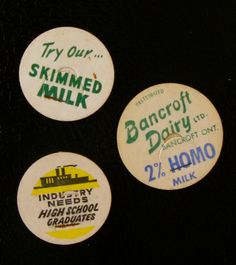 home-made fridge magnets: antique milk caps