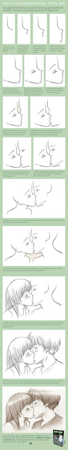 How to draw two people kissing. Line by line. Step by step. Very great way to learn how to draw. Try it all.