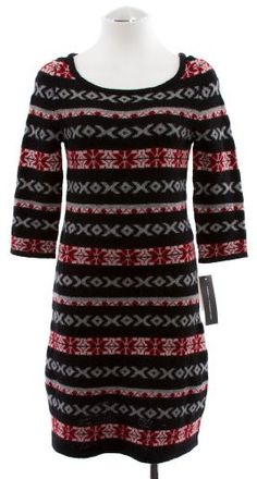 French Connection Fair Isle Nordic Black & Red 3/4 Sleeve Sweater Dress M 8