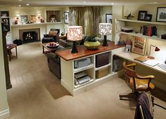 basement layout via candice olsen maybe an idea for sewing area in large room