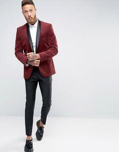 Image 4 ofFarah Skinny Velvet Blazer with Shawl Lapel
