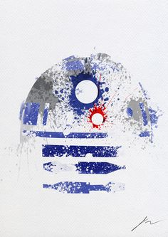 Star Wars Paint Splatter Art For Modern Interior Design - R2-D2 #Starwars