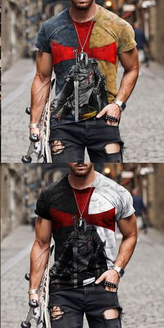 Casual T Shirts, Casual Outfits, Men Casual, Fashion Outfits, Kleidung Design, Sport Mode, Mode Rock, Tee Shirt Homme, Look Vintage