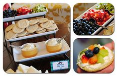 Fruit pizza bar. So cute! Perfect for a brunch or shower.