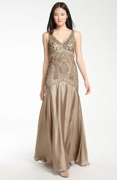 Sue Wong Backless Embellished Bodice Satin Gown 1920s Bridesmaid Dresses