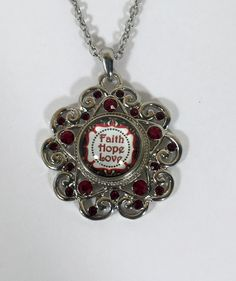 """N-102 Red Rhinestone Snap Pendant 18mm with Snap and 20"""" Upgraded Stainless…"""