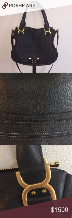 Nearly New! Chloe Medium Marcie Bag Exceptional condition Chloe Medium Marcie bag in black. Purchased April 2017 from Net-a-Porter and hardly used. No marks on leather. Very slight scuff marks on hardware (pictured) that are hardly noticeable. Includes dust bag and authenticity card. Chloe Bags Satchels