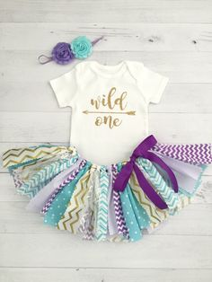 Purple/Lavender and Blue/Turquoise Wild One Birthday Outfit, Fabric Tutu, Baby Girl Birthday Baby Girl Birthday Outfit, Wild One Birthday Party, Purple Birthday, First Birthday Outfits, Birthday Ideas, 2nd Birthday, Baby Girl Shirts, Shirts For Girls, Fabric Tutu