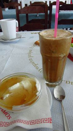 My breakfast of a frappe and Greek yogurt with honey - Samos Island, Greece