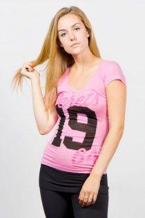 Cute pink rayon slub jersey tee for ladies and teens, montreal fashion