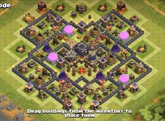 clash of clans town hall 9 farming base with bomb tower