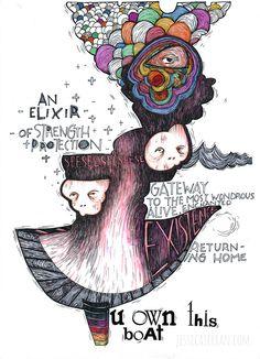 "An Elixir, acrylic, ink, press-on-letters on paper, 8.5""x11"", 2013, (c) Jessica Serran."