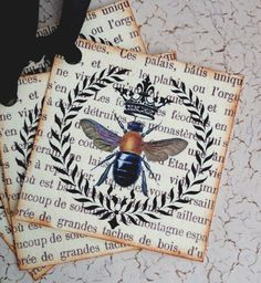 Bee Tags French Bee Tags Crown Bee Tags Set by CreativeVisions