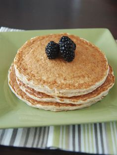 Protien pancakes - I (rebecca) made these this morning - so filling.  You can make any amount by just using equal parts cottage cheese, egg whites, and oats (add some cinnamon then blend) i used 1/2 cup of each and it was enough for both my husband and i.  Topped with yogurt and backberries?  YUM.  @Hannah Barkey - you should be all over this recipe!