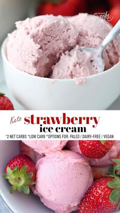 This Keto Strawberry Ice Cream is sweet, creamy and so easy to make with only 6 ingredients and less than 20 minutes of prep. This no churn ice cream recipe is the perfect sugar-free / low carb treat for summer made with fresh strawberries, coconut cream and cream cheese with options to make it paleo, dairy-free and vegan. The best way to satisfy that ice cream craving with no ice cream maker required. #strawberryicecream #keto