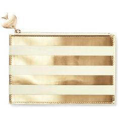 Kate Spade New York Gold Gold Stripe Pencil Pouch With Bridge Pencils ($30) ❤ liked on Polyvore featuring home, home decor, office accessories, bags, stationary, purses, gold, kate spade, kate spade pencils and kate spade pencil pouch