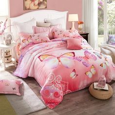Cute butterfly themed bedding set will help you create an incredible room for your girls . These full, queen size butterfly print bedding sets are surely to impress. You can sink into your cotton bedding sets and enjoy a long nights rest. Girls Bedding Sets, Cheap Bedding Sets, Cheap Bed Sheets, Bedding Sets Online, Queen Bedding Sets, Pink Bedding, Luxury Bedding Sets, Girls Bedroom, Affordable Bedding