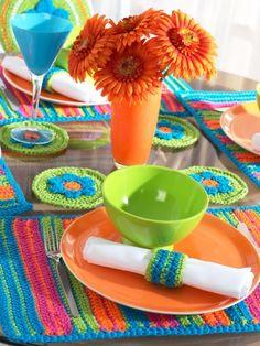 Striped Table Setting   Yarn   Free Knitting Patterns   Crochet Patterns   Yarnspirations