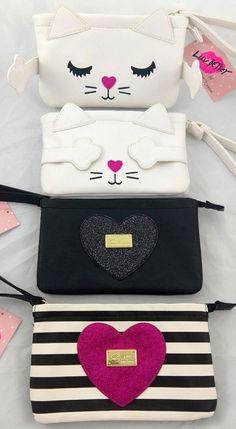 Luv Betsey Johnson Clutch Wristlet Wallet Kitty Cat Glitter Heart Striped #BetseyJohnson #ClutchWristlet #CatGirl