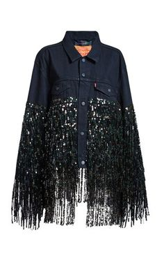 Shop Black Star Jacket X Levis. This **Romance Was Born** Black Star Jacket X Levis features a spread collar with button-down placket, patch pockets, and long-black sequin fringing. Sequin Jeans, Sequin Jacket, Embellished Jeans, Denim Jeans, Teen Fashion Outfits, Denim Fashion, Womens Fashion, Jean Jacket Design, Customised Denim Jacket
