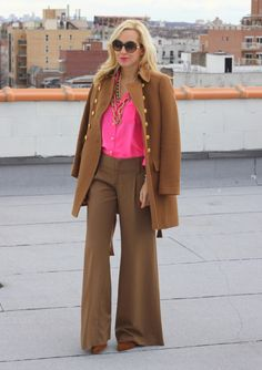 Brooklyn Blonde- hot pink & camel. Has me sold on the hot pink J. Crew Blythe Blouse.