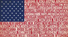 American flag made of the names of our states :) #states #American #flag