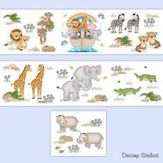 Noahs Ark Wallpaper Border Wall Decal Safari Animal Nursery